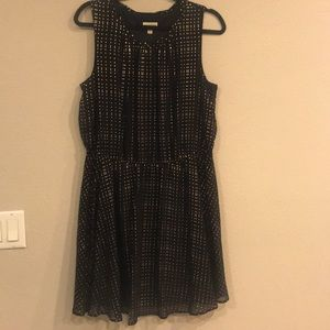 Flowing Black with gold dots dress size XL